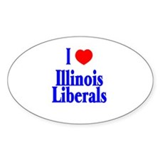 I Love Illinois Liberals Oval Decal