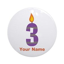 Custom 3rd Birthday Candle Ornament (Round)