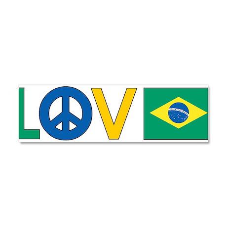 Love Peace Brazil Car Magnet 10 x 3