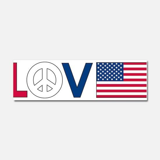 Love Peace America Car Magnet 10 x 3
