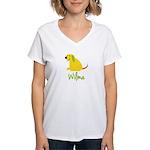 Wilma Loves Puppies Women's V-Neck T-Shirt