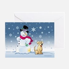 Yellow Lab and Snowman Greeting Card