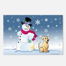 Yellow Lab and Snowman Postcards (Package of 8)