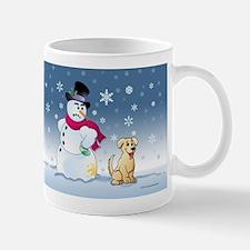 Yellow Lab and Snowman Mug