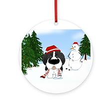 Newfie Winter Wonderland Ornament (Round)