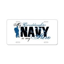 Granddaughter Hero3 - Navy Aluminum License Plate