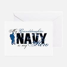 Granddaughter Hero3 - Navy Greeting Cards (Pk of 1