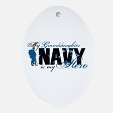 Granddaughter Hero3 - Navy Ornament (Oval)