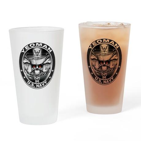 USN Yeoman Skull YN Dont Trea Drinking Glass