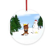 Miniature Pinscher Snow Ornament (Round)