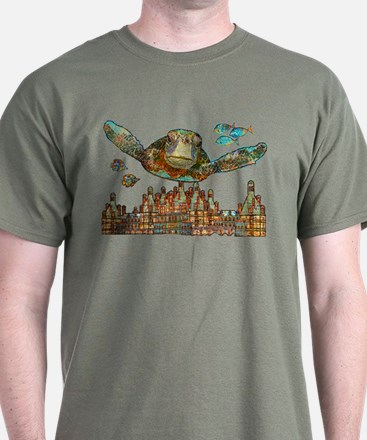 Sea Turtle Over Atlantis T-Shirt
