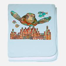 Sea Turtle Over Atlantis baby blanket