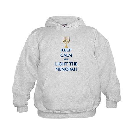 Keep Calm and Light the Menorah Kids Hoodie