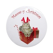 Meow-y Christmas Ornament (Round)