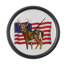 American White Tail Deer Buck Large Wall Clock