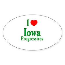 I Love Iowa Progressives Oval Decal