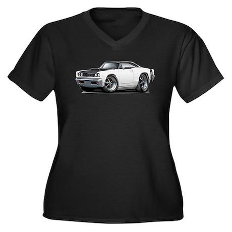 1968 Super Bee White Car Women's Plus Size V-Neck