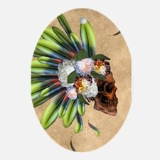Awesome skull with feathers and flowers Oval Ornam