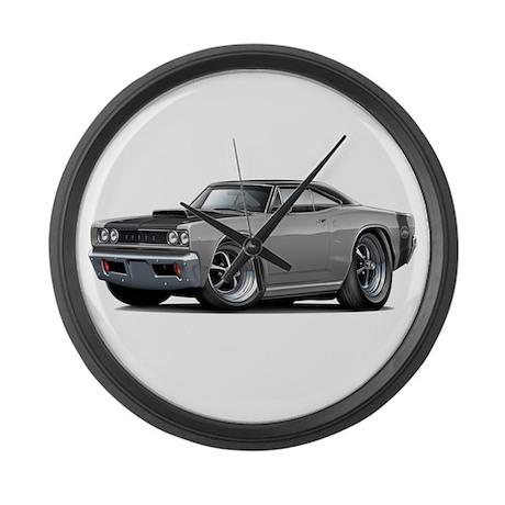 1968 Super Bee Grey Car Large Wall Clock