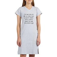 Work in hell funny Women's Nightshirt