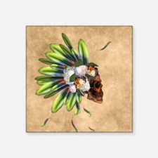 Awesome skull with feathers and flowers Sticker