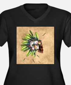 Awesome skull with feathers and flowers Plus Size