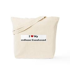 I Love redbone Coonhound Tote Bag