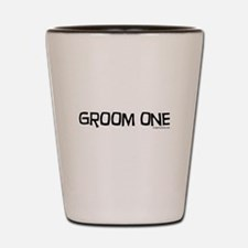 Groom one funny wedding Shot Glass