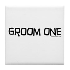 Groom one funny wedding Tile Coaster
