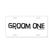 Groom one funny wedding Aluminum License Plate