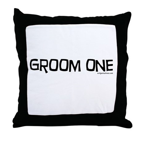 Groom one funny wedding Throw Pillow