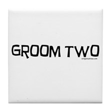 Groom two funny wedding Tile Coaster