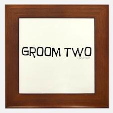 Groom two funny wedding Framed Tile