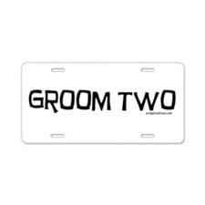 Groom two funny wedding Aluminum License Plate