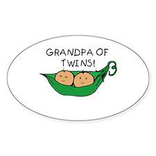 Grandpa of Twins Pod Oval Decal