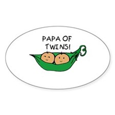 Papa of Twins Pod Oval Decal