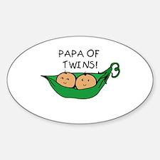Papa of Twins Pod Oval Decal
