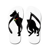 Black german shepard Flip Flops