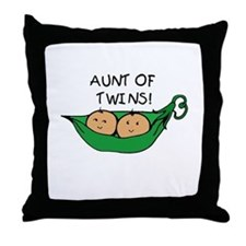 Aunt of Twins Pod Throw Pillow