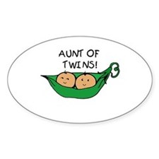 Aunt of Twins Pod Oval Decal