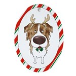 Red Merle Aussie Antler Ornament (Oval)