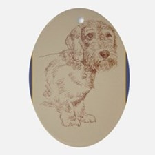 Wirehaired Dachshund Dog Art Ornament (Oval)