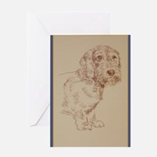 Wirehaired Dachshund Dog Art Greeting Card