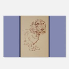 Wirehaired Dachshund Dog Art Postcards (Package of