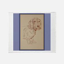 Wirehaired Dachshund Dog Art Throw Blanket