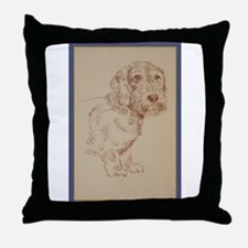 Wirehaired Dachshund Dog Art Throw Pillow