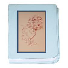 Wirehaired Dachshund Dog Art baby blanket