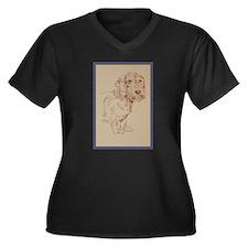 Wirehaired Dachshund Dog Art Women's Plus Size V-N