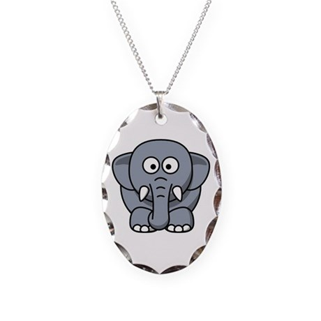 Elephant Necklace Oval Charm