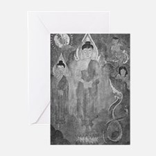 Sun, Nagas, Buddhas BW Greeting Cards (10)